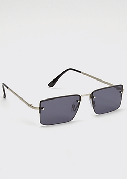 Black Square Lense Metallic Frame Sunglasses
