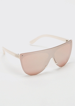 Blush Pink Rimless Shield Sunglasses