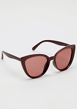 Maroon Cat Eye Sunglasses