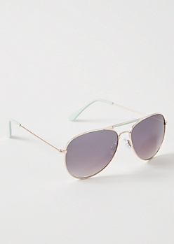 Teal Aviator Sunglasses
