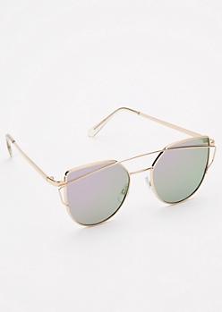Purple Reflective Brow Bar Cat Eye Sunglasses