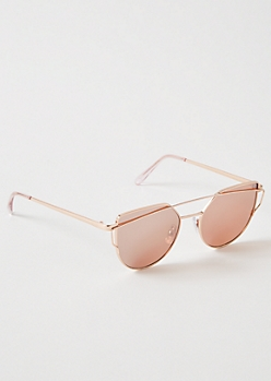 Rose Gold Brow Bar Cat Eye Sunglasses