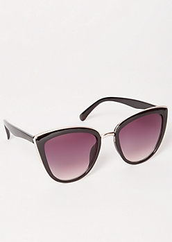 Black Smoky Silver Trim Cat Eye Sunglasses