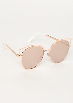 Rose Gold Round Browline Cat Eye Sunglasses