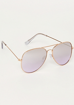 Purple Metallic Aviator Sunglasses
