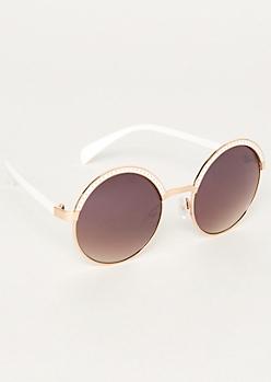 White Round Browline Sunglasses