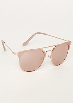 Rose Gold Browline Aviator Sunglasses