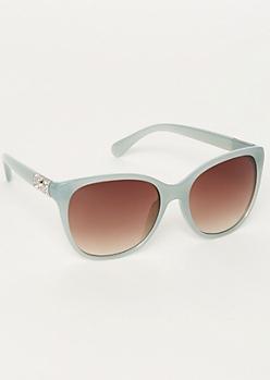 Teal Round Cat Eye Sunglasses
