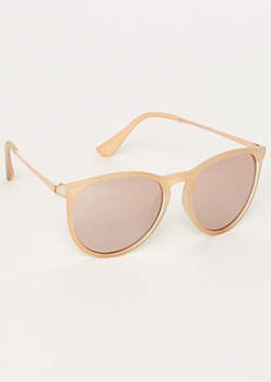 Gold Matte Round Sunglasses