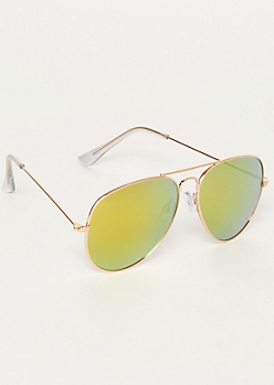 Green Mirrored Aviator Sunglasses