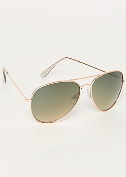 Gold Metallic Aviator Sunglasses