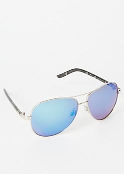 Silver Tortoiseshell Aviator Sunglasses