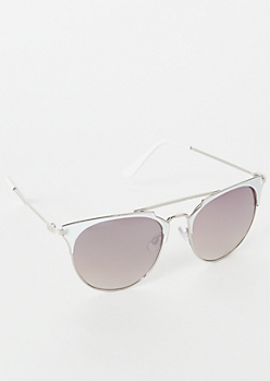 White Browline Cat Eye Sunglasses