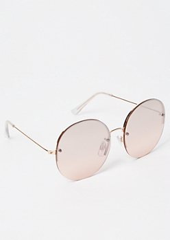 Rose Gold Oversized Round Sunglasses