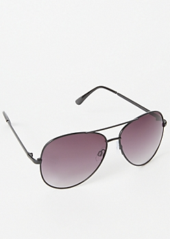 Ombre Black Aviator Sunglasses
