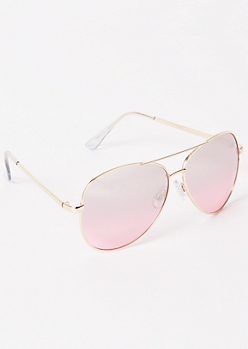 Gold Rosey Gradient Aviator Sunglasses