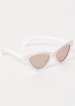 White Mirrored Cat Eye Sunglasses