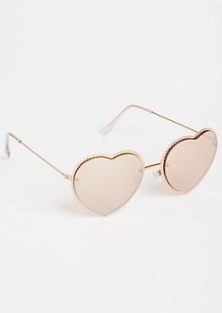 Rose Gold Trim Heart Eye Sunglasses