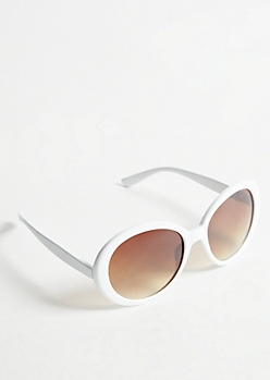 White Retro Round Sunglasses