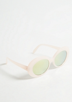 Pink Mirrored Lens Oval Sunglasses