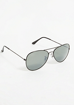 Black Smoky Lens Aviator Sunglasses