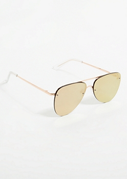 Rose Gold Mirrored Overlay Lens Aviator Sunglasses