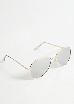 Gold Frame Silver Mirrored Lens Aviator Sunglasses