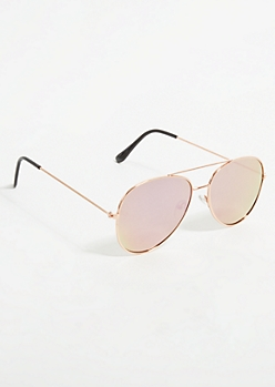 Gold Frame Purple Mirrored Lens Aviator Sunglasses