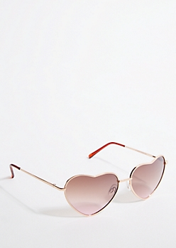 Rose Gold Heart Sunglasses