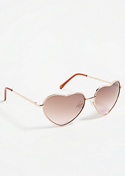 Gold and Pink Heart Sunglasses