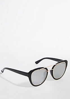Double Frame Smoky Aviator Sunglasses