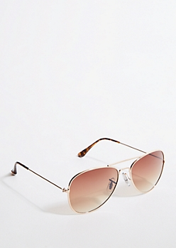 Gold Frame Brown Gradient Lens Aviator Sunglasses