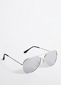 Silver Frame Smoky Lens Aviator Sunglasses