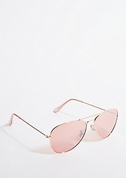 Rose Gold Frame Pink Lens Aviator Sunglasses