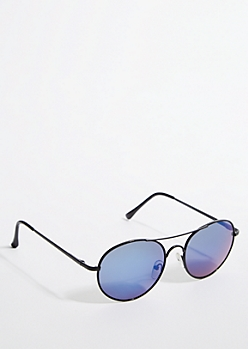 Blue Smoky Lens Round Sunglasses