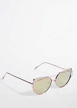 Pink Metallic Brow Bridge Cat Eye Sunglasses