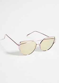 Rose Gold Mirrored Brow Bar Cat Eye Sunglasses