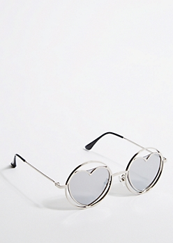 Silver Heart Lens Round Sunglasses