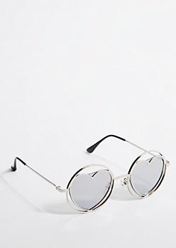 Silver Heart Lens Round Sunglasses