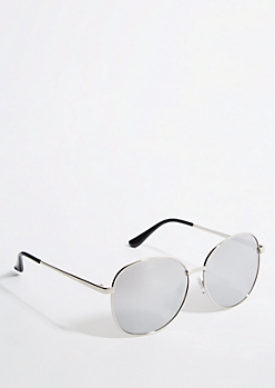 Silver Smoky Mirrored Round Sunglasses