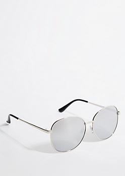 Silver Smoky Mirrored Round Sunglasses