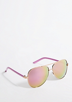 Pink Mirrored Lens & Arm Aviators