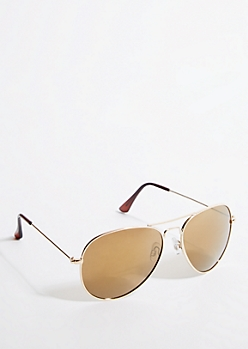 Gold Frame Brown Mirrored Lens Aviator Sunglasses