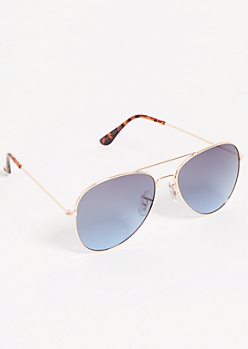 Gold Tortoiseshell Blue Lens Aviator Sunglasses
