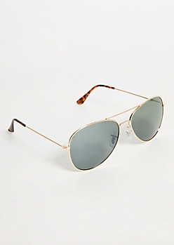 Gold Tinted Green Lens Aviator Sunglasses