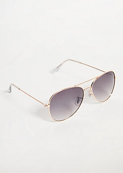Rose Gold Gradient Lens Aviator Sunglasses