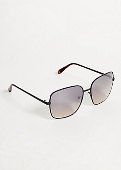 Black Smoky Lens Square Tortoiseshell Sunglasses