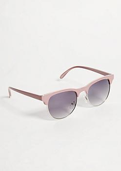 Pink Glossy Half Rim Browline Sunglasses