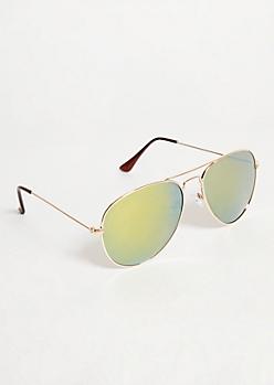 Gold Yellow Mirrored Lens Aviator Sunglasses