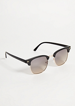 Black Matte Half Rim Browline Sunglasses